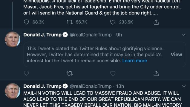 "Social Media Wars: Twitter put a warning on a Trump tweet for ""glorifying violence"""